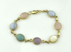 Estate $750 14K Yellow Gold Multi-Gemstone Scarab Bracelet