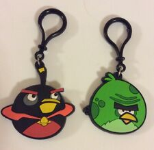 """Angry Birds Thick Rubber Keychains Set Of 2 Bird 2.5"""" 5"""" Total"""