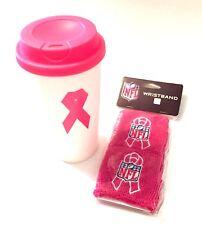 Breast Cancer Awareness BCA Pink Travel Cup Mug Tumbler & NFL Wristbands