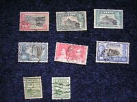 8 Assorted George VI Ceylon (Shri Lanka) stamps.