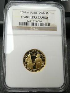 2007-W Jamestown Proof $5 Gold NGC PF69 Ultra Cameo - bknp