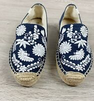 Anthropologie Espadrilles by Soludos Size 6 Blue Fabric White Embroidery