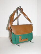 LANCEL Paris Green Canvas w/Cognac Leather Cross-Body / Shoulder Bag