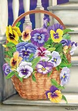 """New listing Pansy Flower Steps House Flag Large 40"""" x 28"""""""