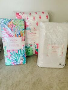 Pottery Barn Kids Lilly Pulitzer party Patchwork nursery crib set QUILT sheet ++