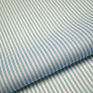 Baby Blue Stripe Polycotton Fabric Striped Lines Material Craft 3mm Per METRE