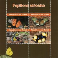 Chad Butterflies Stamps 2020 MNH African Butterfly Insects Fauna 4v M/S