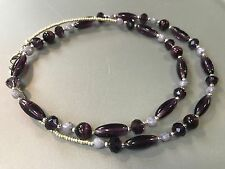 HDMD by Cyndi Heart Necklace of Multi Tone Purple Glass Beads and Silver Spacers