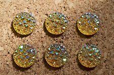 Set of 6 blingy AMBER (AB) bulletin board pushpins / thumbtacks, or magnets.