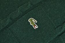 """Men's Lacoste Crew Neck Chunky Knit Wool Blend Jumper Green Size 7 / 2XL P-P 26"""""""