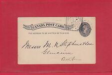 DUNDAS post card w/ SQUARED CIRCLE Canada cover 1895