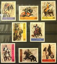 POLAND STAMPS MNH 1Fi2075-82 Sc1946-53 Mi2222-29 - Polish horse riding, 1972, **