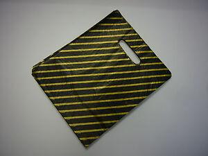 """BLACK / GOLD STRIPE CARRIER BAG 9"""" x 11"""" PACK 50"""