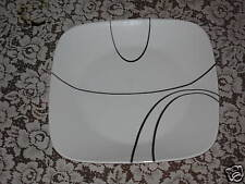 4 New Corelle Square Simple Lines Dinner Plates