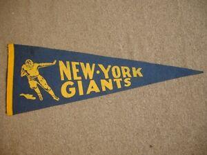 """1930's/40's New York Giants Football Pennant - 28.5"""" x 10.5"""""""