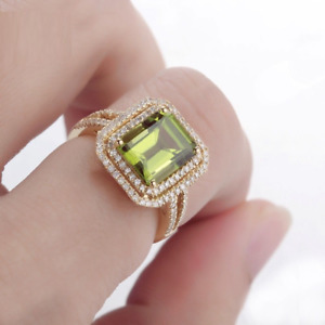 4.20Ct Emerald Cut Green Peridot Double Halo Engagement Ring 14k Rose Gold Over