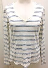 TO THE MAX Woman's Cream W/ Stripes Cotton Long Sleeve V-Neck T-Shirt Top Sz Lg
