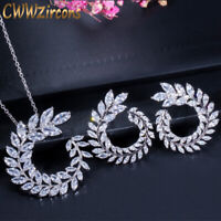 CWWZircons Brand Leaf Necklace Earrings Cubic Zirconia Lady Costume Jewelry Sets
