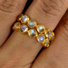 18k Solid Yellow Gold Blue Flash Moonstone Bezel Eternity Ring SIZE 7