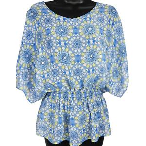 Investments Women's Sheer Blue Yellow & White Mandala Short Sleeve Blouse Size S