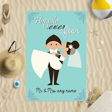 """58 x 39"""" Personalised Beach Towel Happily Ever After Design Microfibre Wedding"""