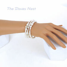 CROFT & BARROW Simulated PEARL BEADS Coil BRACELET Round SILVER Tone ACCENTS