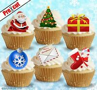 PRE-CUT CHRISTMAS MIX X. EDIBLE WAFER PAPER CUP CAKE TOPPER DECORATIONS
