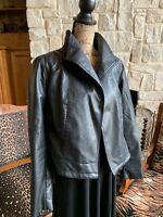 Women's Black Moto Jacket Size Large Black Cropped Vegan Faux Leather