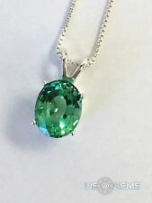 925 Sterling Silver pendant created 3 ct. Emerald Chain Necklace Jewelry. @
