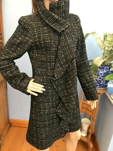 Karen Millen Black & White Mix Wool Blend Mid Length Jacket Coat Size 12