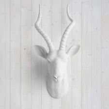 Wall Charmers Faux White Antelope Head Fake Animal Antler African Taxidermy