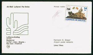 Mayfairstamps Bolivia Flight La Paz to Lima Peru Statue Cart Lions Cover wwr_013