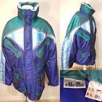 Vintage Ellesse Men's Green Blue Ski Jacket Size XL Spellout Retro Winter