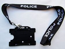 POLICE,Black/White Neck Lanyard/Metal Trigger Clip With ID Card/Badge Holder UK
