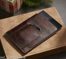 NEW Pottery Barn Saddle Leather iPad Sleeve Case Cover Chocolate Brown NIB $59