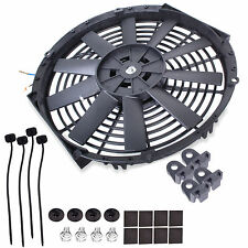"UNIVERSAL 14"" ENGINE COOLING RADIATOR INTERCOOLER STRAIGHT BLADE 12V 80W FAN KIT"