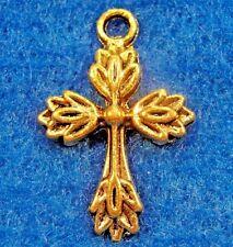 50Pcs. WHOLESALE Tibetan Antique Gold CROSS Charms Pendants Earring Drops Q0589