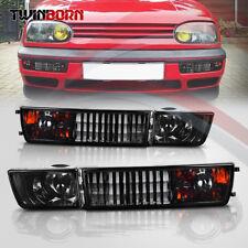 Pair Front Bumper Smoke Lens Fog Light Signal Lamp For VW Golf Jetta Mk3 93-98