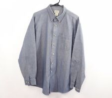 LL Bean Mens Large Long Sleeve Casual Chambray Button Shirt Casual Blue Cotton