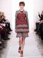 $3390 New Oscar de la Renta Red Lace Applique Houndstooth Sheath DRESS 10