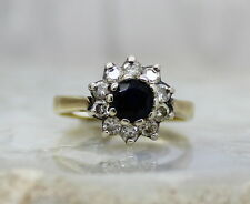 18CT GOLD SAPPHIRE & DIAMOND ENGAGEMENT RING, SIZE K 1/2, ROUND CLUSTER,18K BLUE
