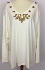 Liz & Me Ivory Gold Beaded Embellished Neckline Long Sleeve Top Shirt Size 3X