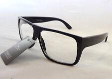 Performance Eyewear Clear Lens Glasses BLACK Frame Unisex Mens Nerd Trendy New