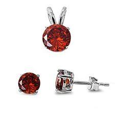 Round Red Garnet .925 Sterling Silver Pendant & Earrings Set