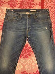 🤍True Religion Rocco   Slim Fit   Button Fly  Blue Denim   Mens Jeans 42 x32