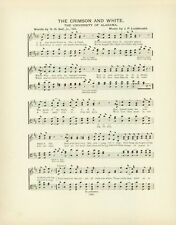 "UNIVERSITY OF ALABAMA Antique Song Sheet c 1906 ""The Crimson and White"""