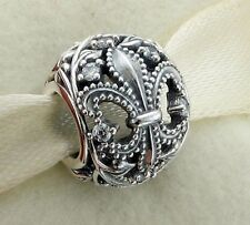 FLEUR de LIS for FRANCE & FRENCH .925 Sterling Silver European Charm Bead