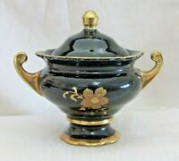CAPEANS Covered Trinket Bowl, Dark Blue Black, Gold Floral Design & Trim Vintage