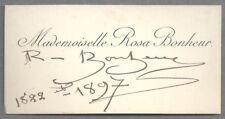 ROSA BONHEUR - Major 19th century French painter - 1897 autograph