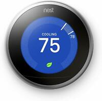 Google Nest 3rd Generation Smart Learning Thermostat - Stainless Steel